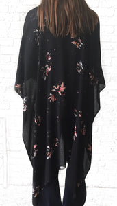 MR Black Flash Floral Kimono