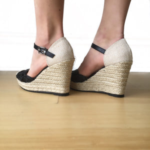 GD Black Raffia Espadrille Wedge