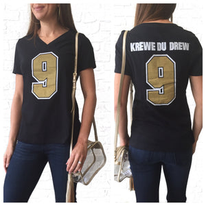 Krewe Du Drew Black V-Neck