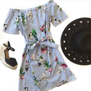 Off Shoulder Stripe Floral Dress
