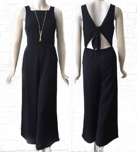 Black Tie Back S/L Jumpsuit