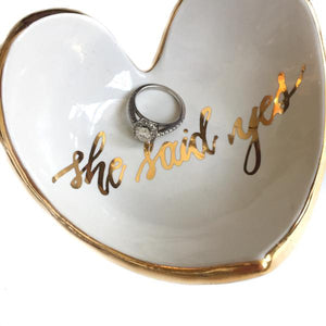 "MR-""She Said Yes"" Heart Dish-White"