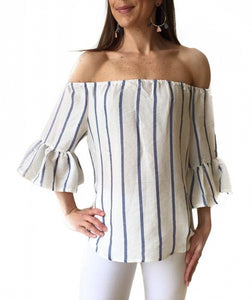 MR Off Shldr Blue Stripe Top