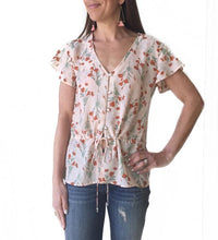 GD Coral Floral Drawstring Top