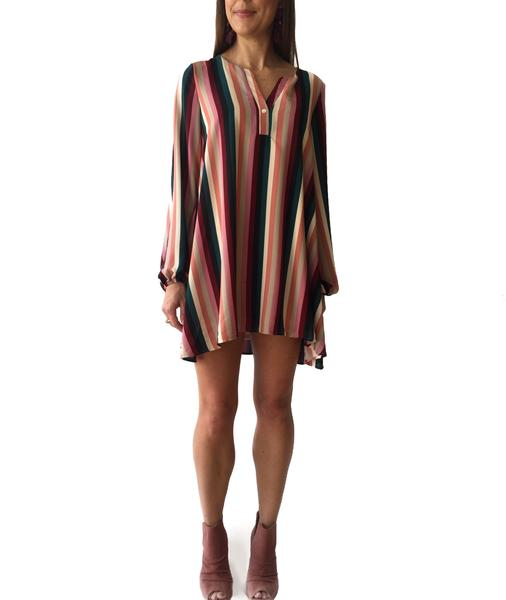 Mauve/Teal Multi Stripe Tunic