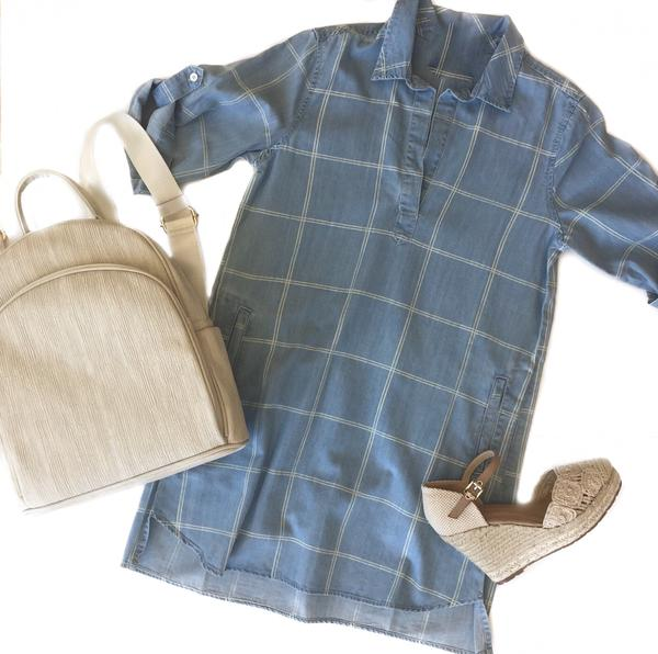 MR Plaid Denim Shirt Dress