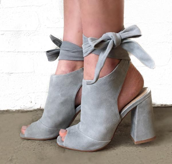 Dusty Blue Suede Block Heel w/ Tie