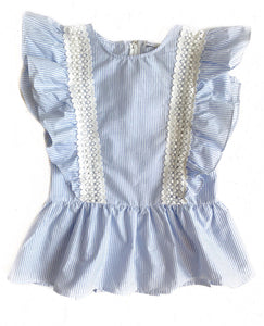 Blue/Wht Lace Trim Ruffle Top