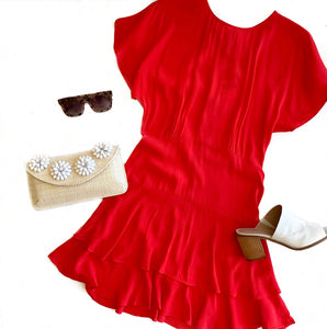 Short Sleeve Flutter Tomato Dress