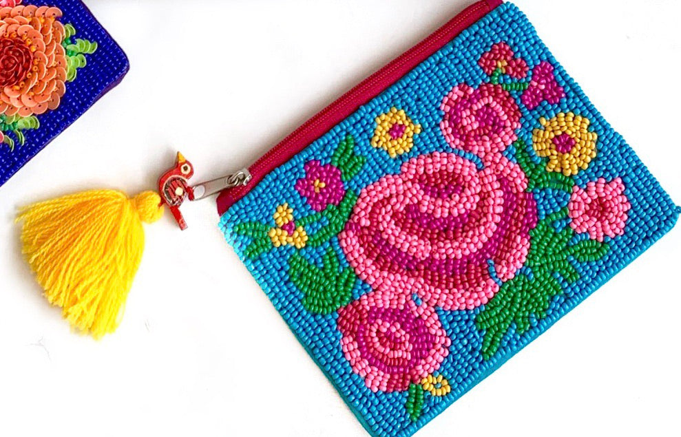 Turq Beaded Pouch