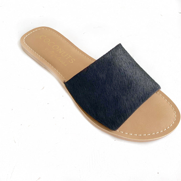 Black Cowhair One Strap Slides