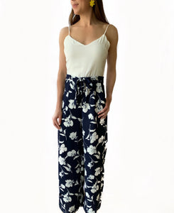 Navy & White Printed Woven Jumpsuit