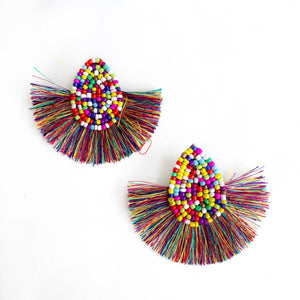 Fiji Fan Beaded Drop Earrings