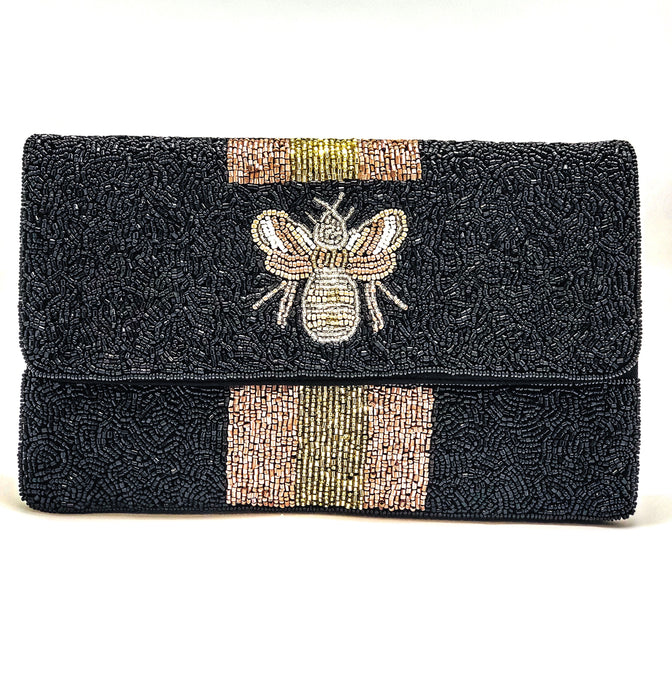 Black Bee Beaded Clutch