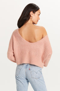 Cropped Fuzzy Slouchy Sweater