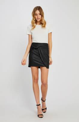 Black Knot Leather Skirt