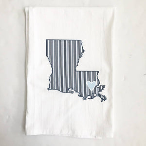 LA State Navy Stripe/L. Blue Hrt Towel
