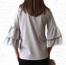 Light Grey Vneck Ruffle Slv Top