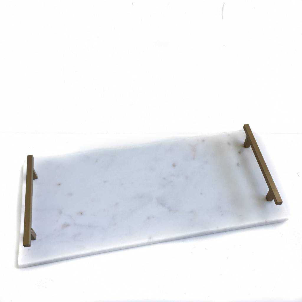 Marble Tray w/ Mtl Handle