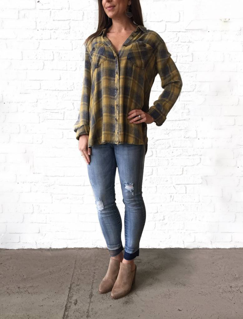 Mustard/Navy Plaid Shirt