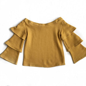 Mustard Off Shldr Ruffle Slv Top medium