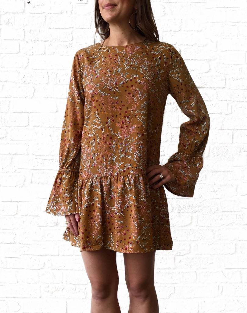Mustard Poppy Bell Sleeve Dress