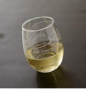 NOLA Map Stemless Wine Glass