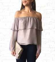 Off Shoulder Ruffle Shimmer Top