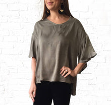 Olive Silky Flutter Slv Top medium