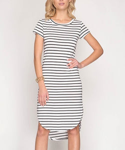 S/S Striped Midi Dress
