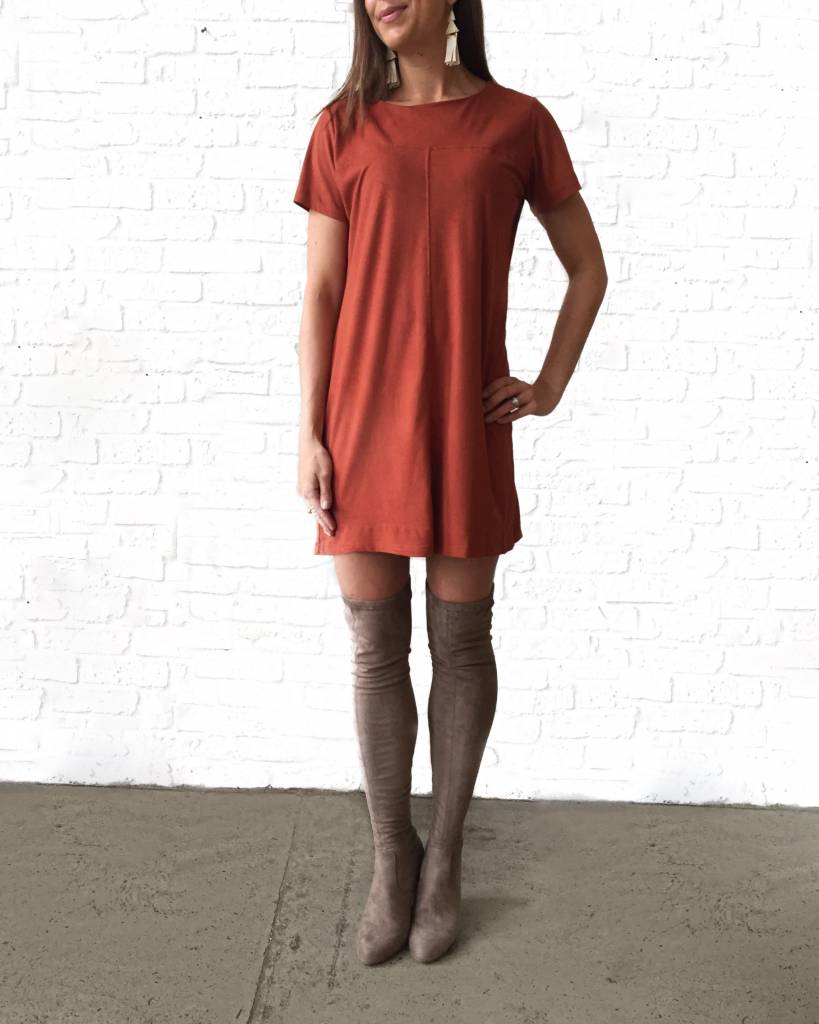Rust Shift Suede Dress-GD