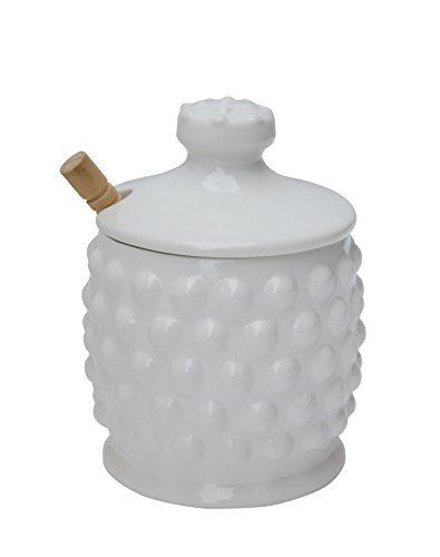 White Ceramic Honey Container