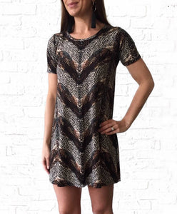Short Sleeve Tan/Blk Print Dress
