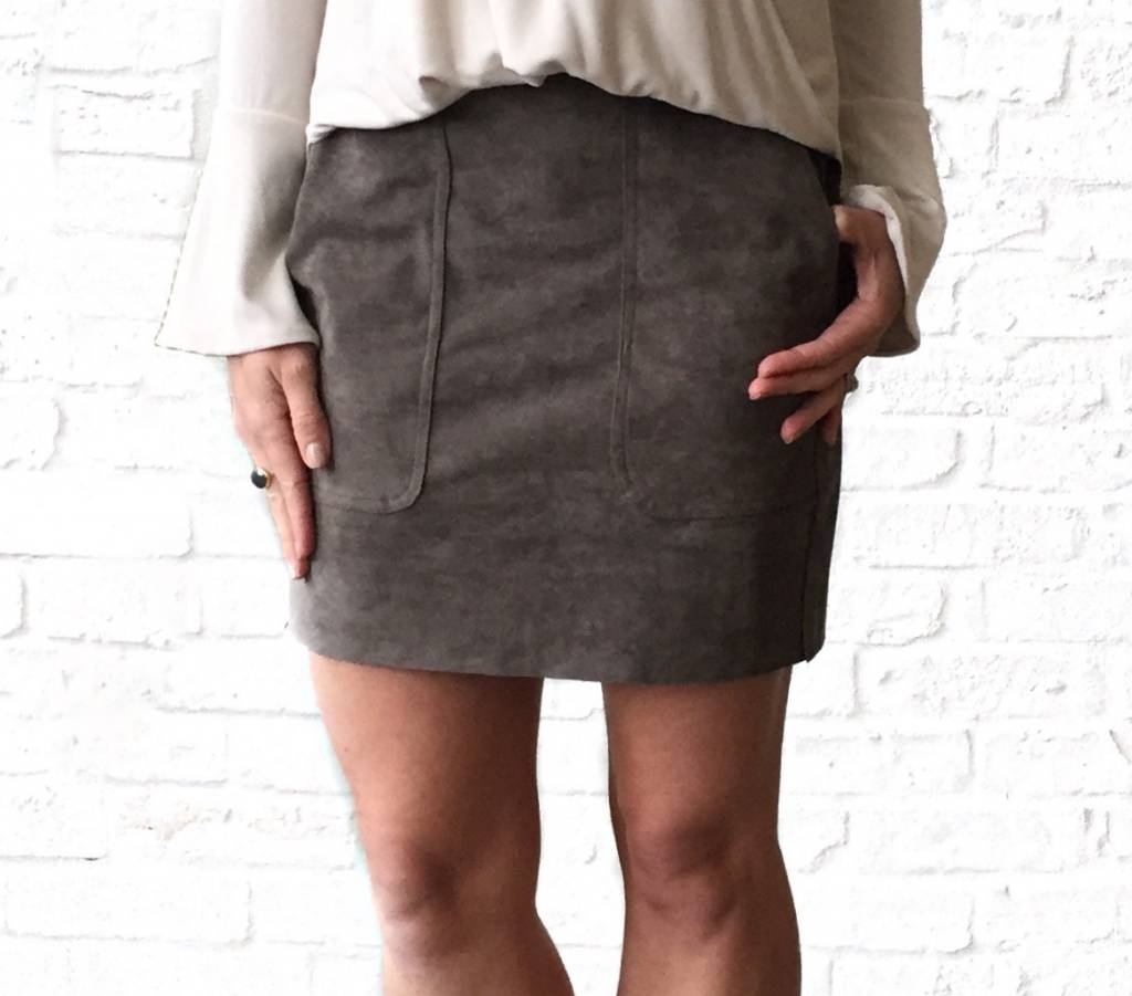 Smoked Grey Suede Skirt-GD