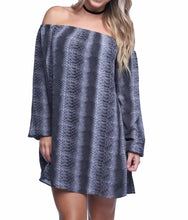 Snakeprint Off Shoulder Dress