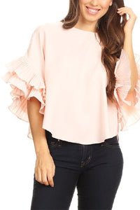 GD Pleated Ruffle Slv Top