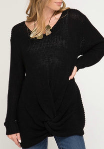 Black L/S Front Twist Sweater