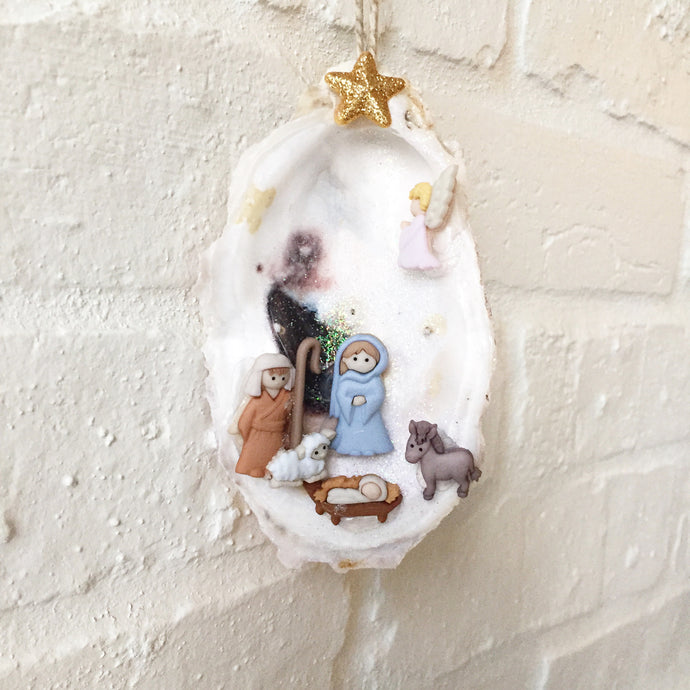 Nativity Oyster Ornament