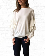 White Ruffle Sleeve Banded Sweater large