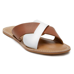Tan & White Crossover Slide