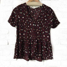 Wine Leopard S/S Ruffle Top  Large