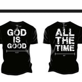 A black t-shirt with the god is good logo