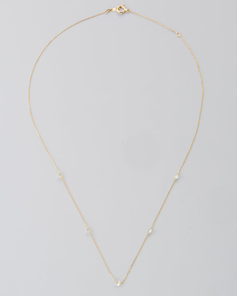 "18k Yellow Gold 16"" White Diamond Necklace"