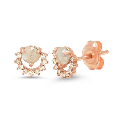 14kt Rose Gold Cognac Stud Diamond Earrings