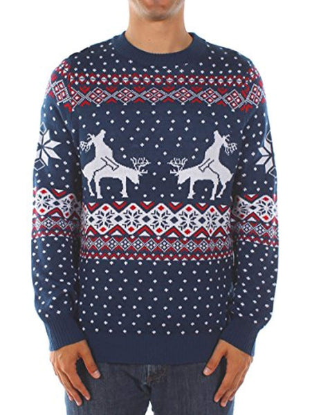8b3240eb347cd8 Tipsy Elves Men's Ugly Christmas Sweater - Reindeer Climax Tacky Christmas  Sweater Blue