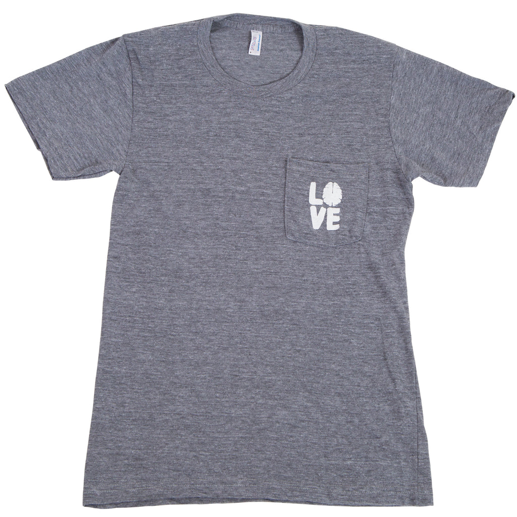 Heather Gray Pocket T-Shirt with White Logo