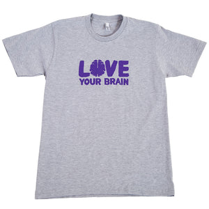 Love Your Brain T-Shirt: Adult, Heather Gray with Purple LYB logo