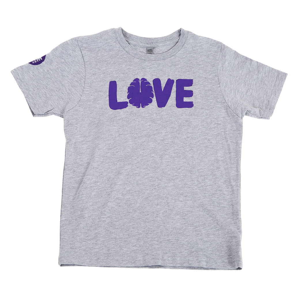 Kids Grey T-Shirt with Purple Logo
