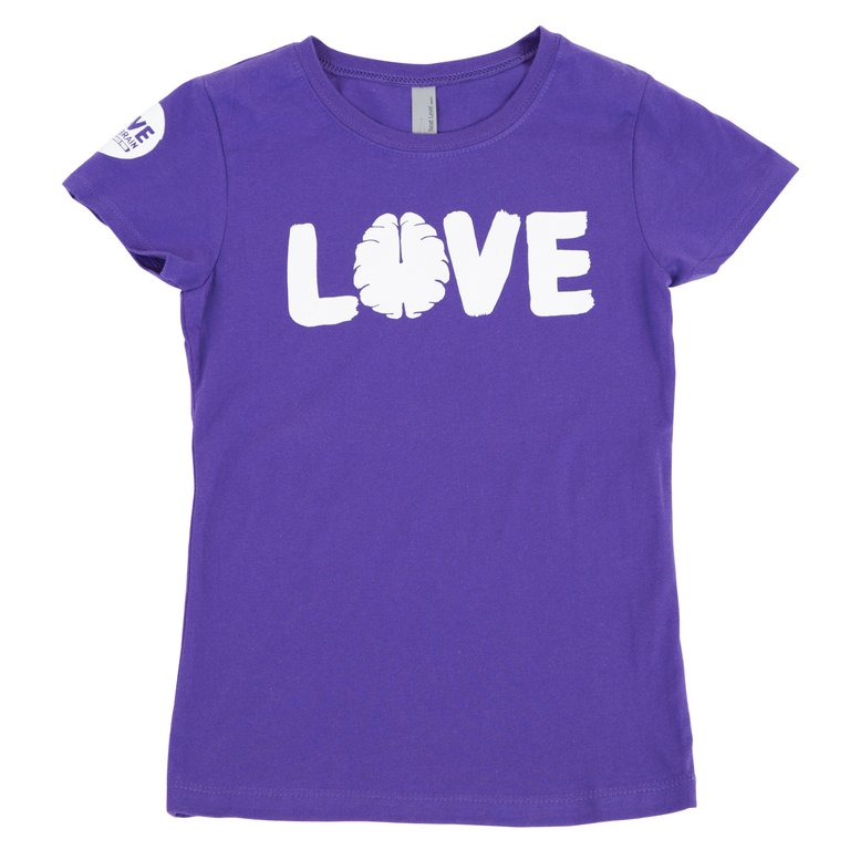 Love Your Brain T-Shirt: Girls Purple Rush