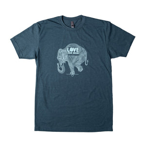 Navy LoveYourBrain T-Shirt w/ Elephant Artwork